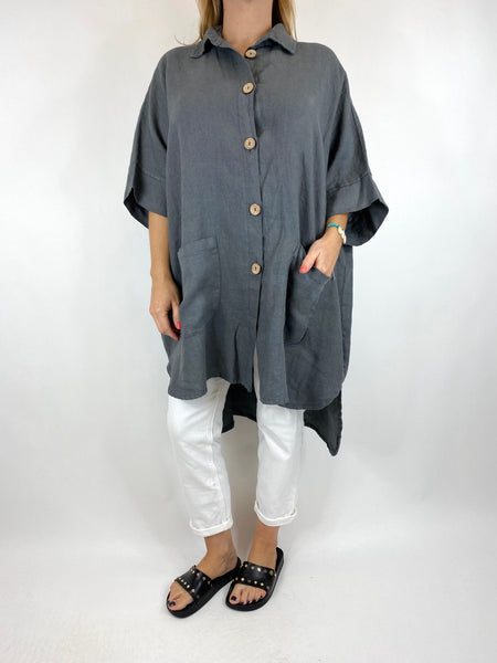 Lagenlook Beyton Linen Shirt 30+ Size in Charcoal. code 2459