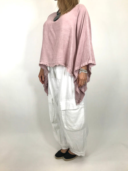 Lagenlook Raw Edge Short Linen layering top in Pink. code 02246