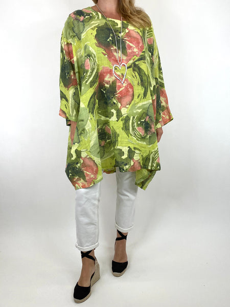 Lagenlook Iris Watercolour Flower Top in Lime.code 91006WC - Lagenlook Clothing UK