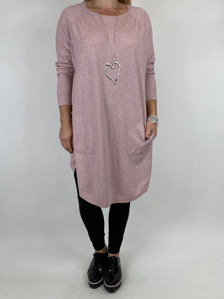 Lagenlook Amelie Button Side Jumper in Winter Pink. code 2560 - Lagenlook Clothing UK
