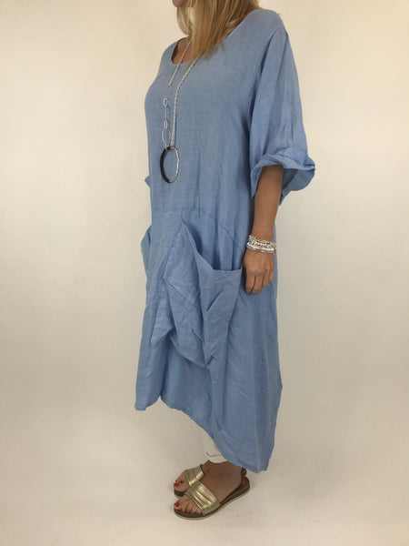 Lagenlook Misha Linen Tie back Tunic in Linen Blue. code 20511
