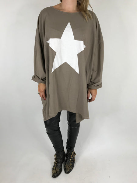 Lagenlook Solo Star Print Sweatshirt Top Tunic in Mocha. Code 9482 - Lagenlook Clothing UK