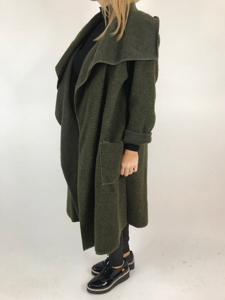 Lagenlook Waterfall Wool Blend Coat in Khaki. code 6080