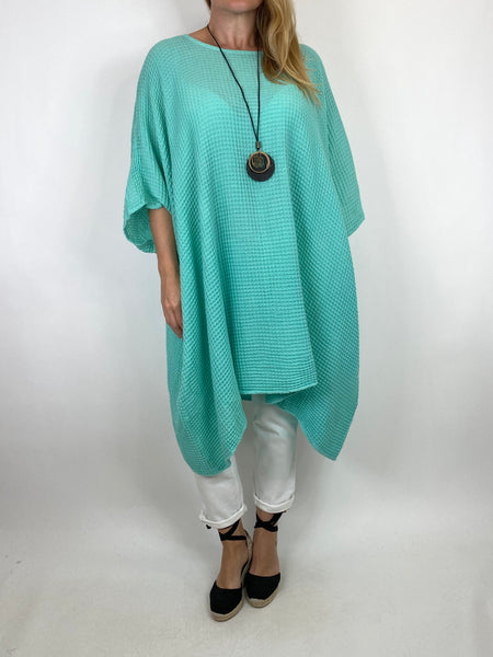 Lagenlook Nancy Cotton Waffle Necklace Top in Spearmint. Code 8550