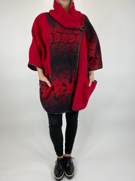 Lagenlook Boho Shadow flower jacket in Red. code 10240