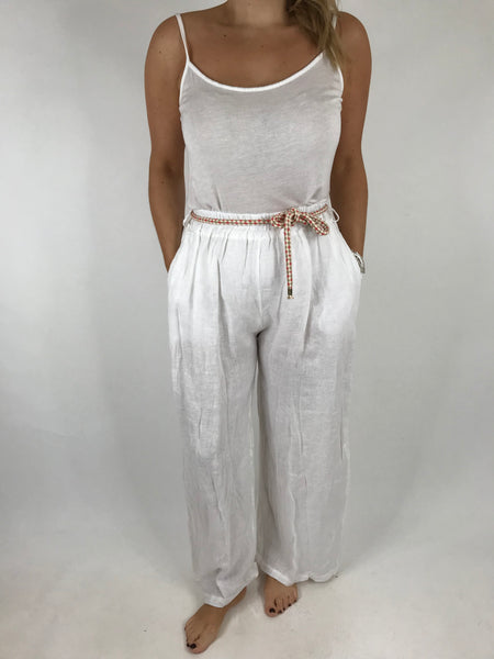Lagenlook Polly Slim leg Linen Trousers in White. code 7354
