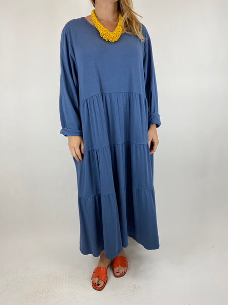 Lagenlook Evie Plain Tunic In Denim. code p9788