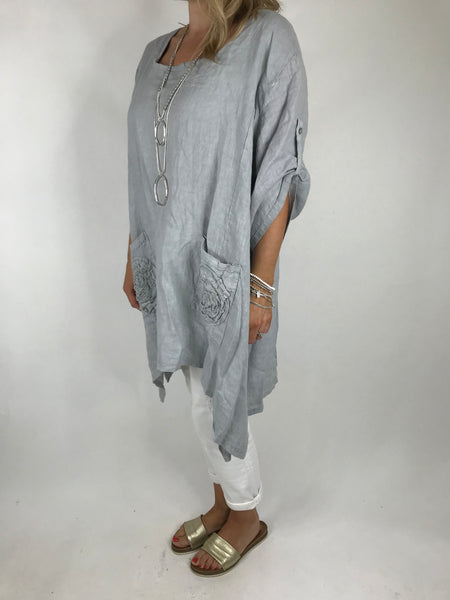 Lagenlook Ellen Swirl Flower Linen in Pale Grey. code 008