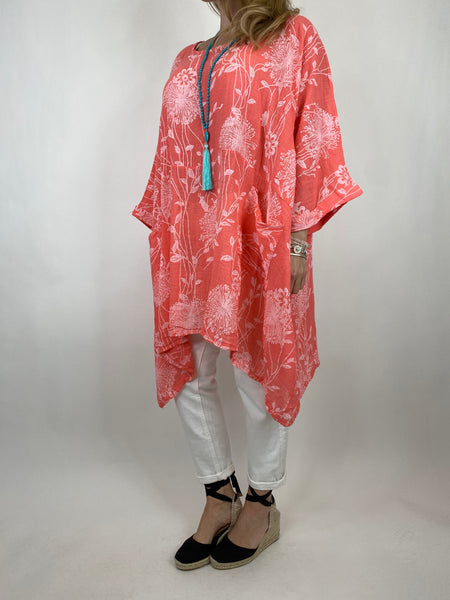 Lagenlook Rachel Flower Top In Coral. code 6363