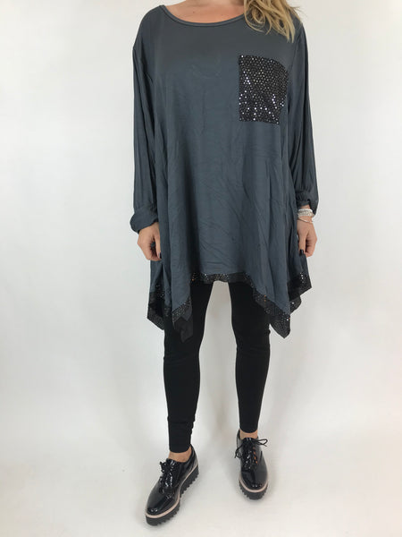 Lagenlook Frankie Sparkle Top in Charcoal Grey. Code AB110