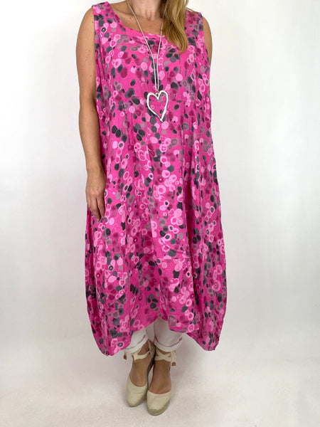 Lagenlook Millie Linen Flower Dot Square neck tunic in Fuchsia. code 8262D