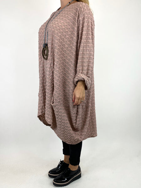 Lagenlook lottie Textured Large Waffle Parachute Hem Tunic In Dusky Pink. code 91122 - Lagenlook Clothing UK