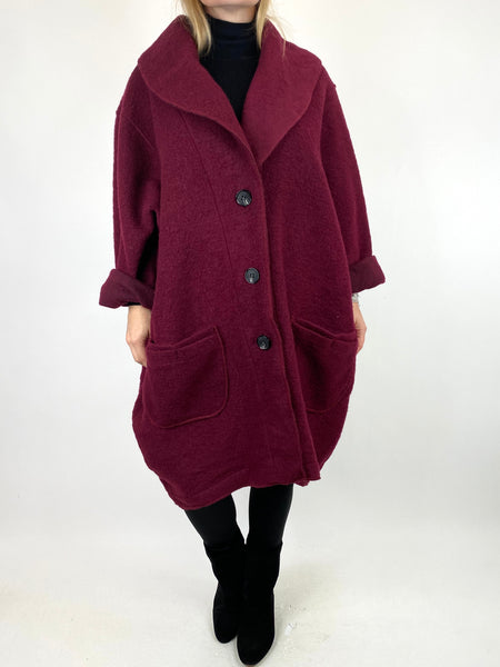 Lagenlook Inka Wool Cocoon Coat in Wine .code 9109 - Lagenlook Clothing UK