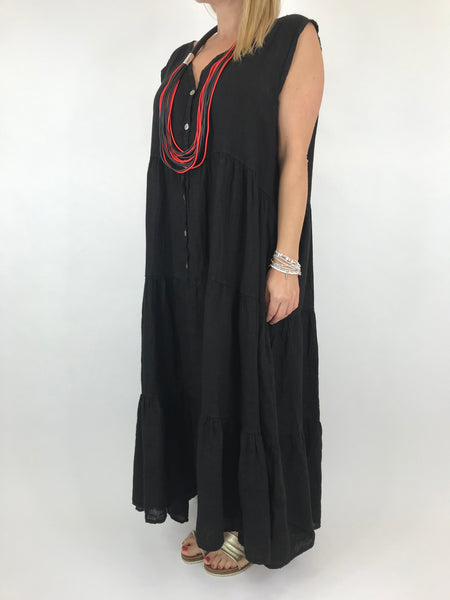 Lagenlook Kate Sleeveless Button Front Linen Tunic in Black. code 20529