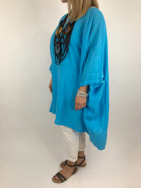Lagenlook Linen Plain Poncho Top in Aqua Blue. code 5699