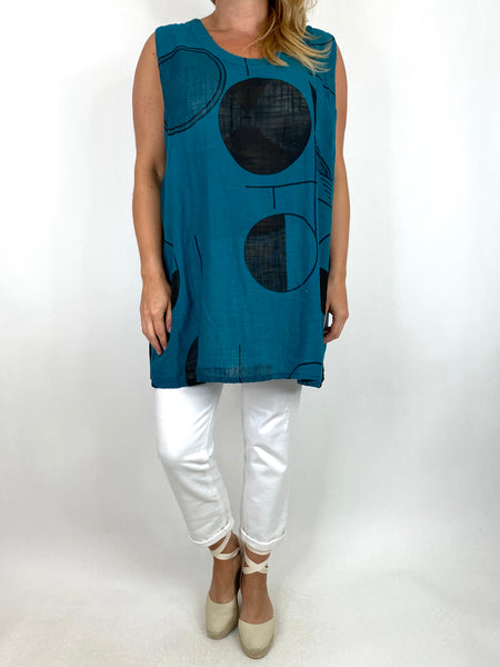 Lagenlook Linen Vest Top in Teal. code 6112
