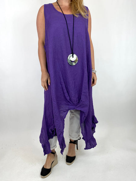 Lagenlook Linen Ruffle hem Vest in Purple. code 91078
