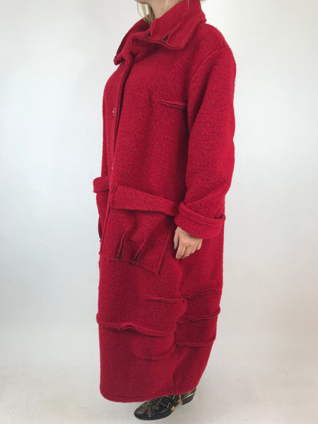 Lagenlook Made In Italy Collared Wool Coat in Red . code 5527