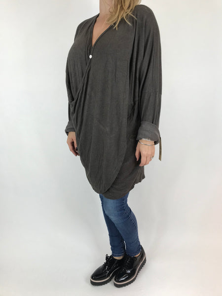 Lagenlook Katie Cross-over Button Jumper in Mocha. code 2093