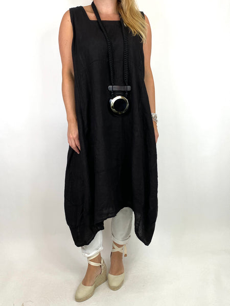 Lagenlook Bella Linen Square neck tunic in Black. code 8262