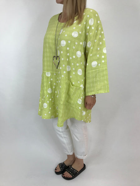 Lagenlook Milly Cotton Dot and Stripe Top in Lime .code 90670