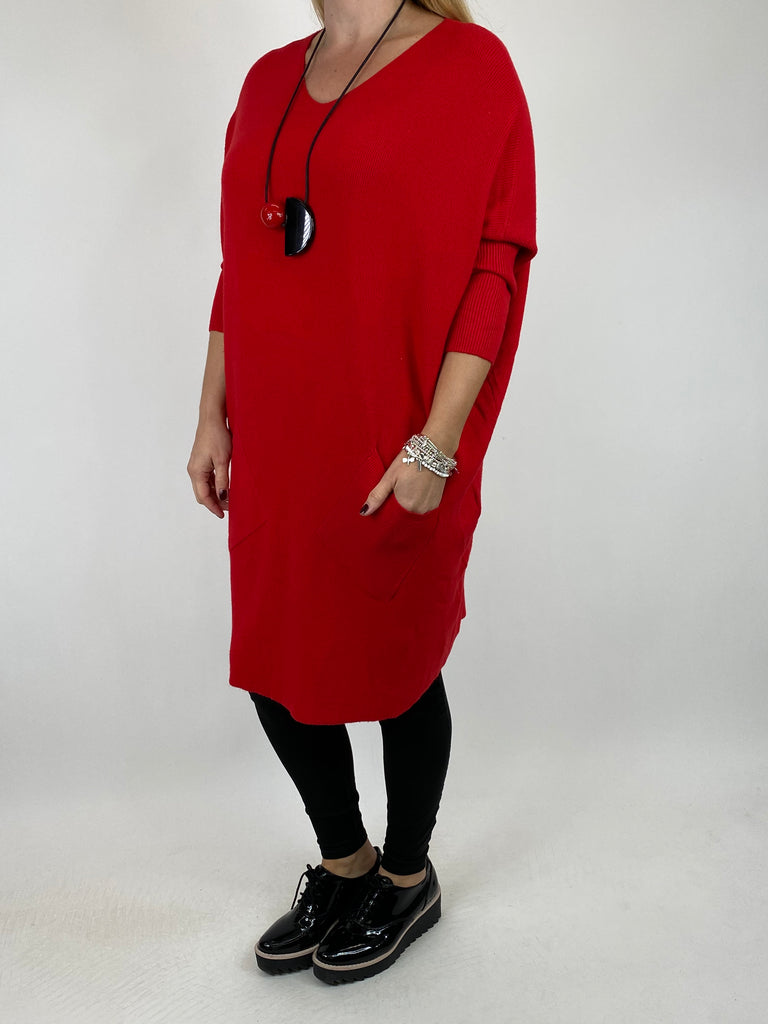 Lagenlook Diana V-neck Angled Pocket Jumper in Red.  code 922 - Lagenlook Clothing UK