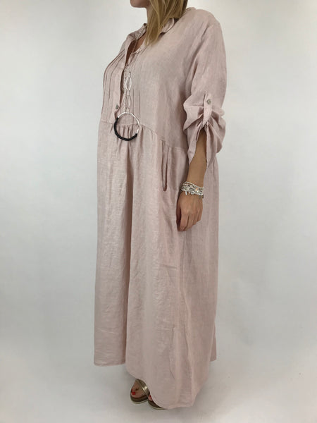 Lagenlook Amy Pintuck Linen Tunic in pale Pale Pink. code 9824
