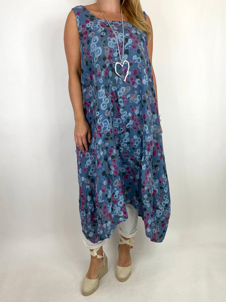 Lagenlook Millie Linen Flower Dot Square neck tunic in Denim. code 8262D