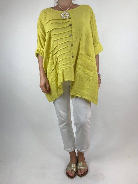 Lagenlook Lucie Button Linen Top in Yellow. code 5671