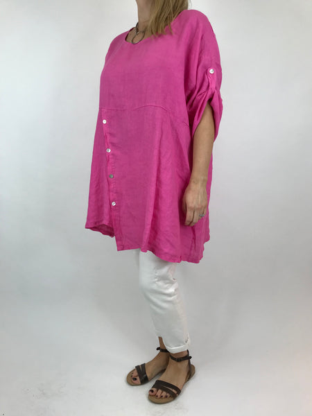 Lagenlook Lydia button Top in Fuchsia Pink. code 5711