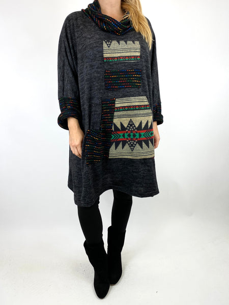 Lagenlook Nao Rainbow Aztec Top in Charcoal.code 9545 - Lagenlook Clothing UK
