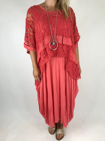 Lagenlook Lace Poncho Top in Coral.code 1452