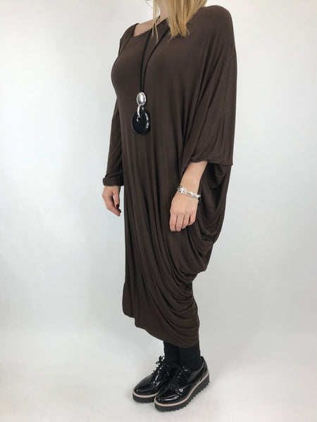 Lagenlook Quirky Angled Jersey Tunic In Chocolate . code 9941