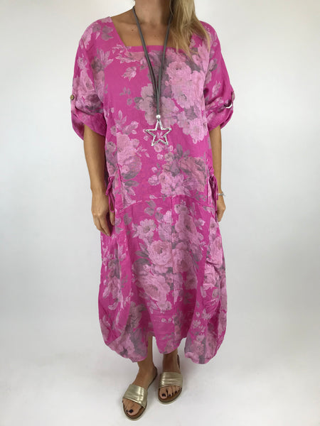 Lagenlook Floral Sleeved Linen Tunic in Fuchsia. code 5314