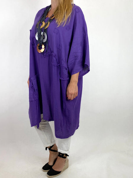 Lagenlook Nelly Twist Front Top in Purple. code 91087