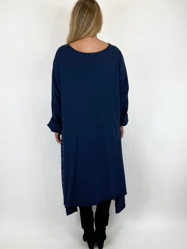 Lagenlook Chrissy Cheetah Panel Tunic in Navy. code 10356 - Lagenlook Clothing UK