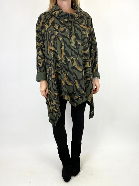 Lagenlook Animal Print Cowl Top in Khaki. code 50002 - Lagenlook Clothing UK