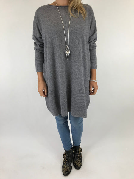 Lagenlook Diaz Star Jumper in Mid Grey. Code 5367