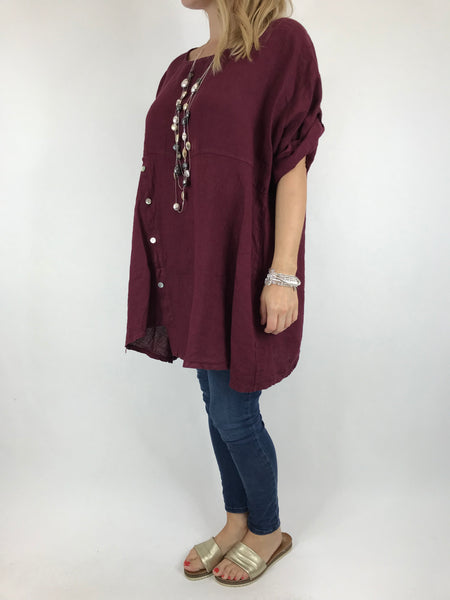 Lagenlook Lydia button Top in Wine code 5711