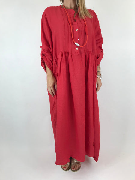Lagenlook Amy Pintuck Linen Tunic in Red.code 9824