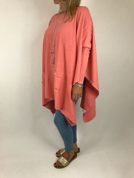 Lagenlook Knitted Poncho In Coral Peach. code 16024