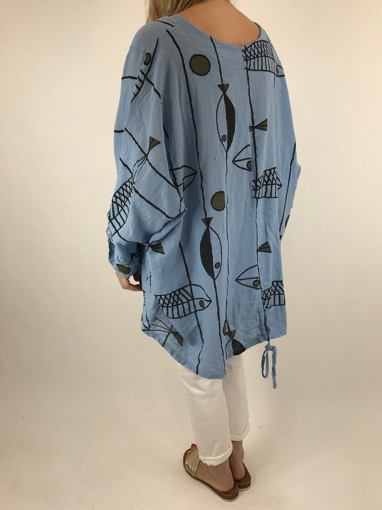 Lagenlook Quirky Patterned Linen Blend Top Jacket in Sky Blue. code 39112