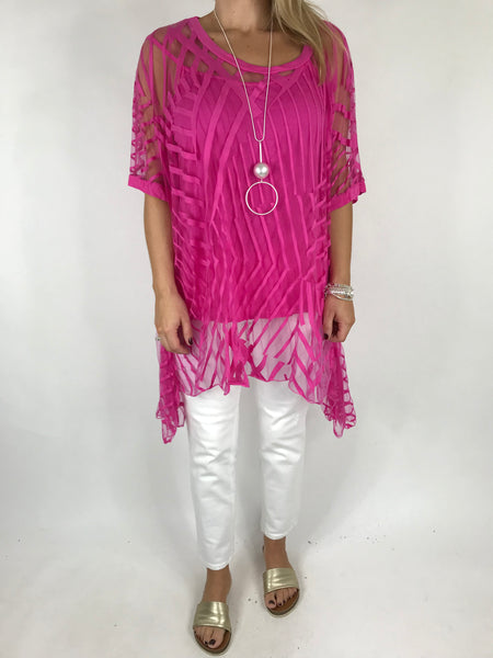 Lagenlook Lazer cut Net Layering Top in Fuchsia Pink . code 18042