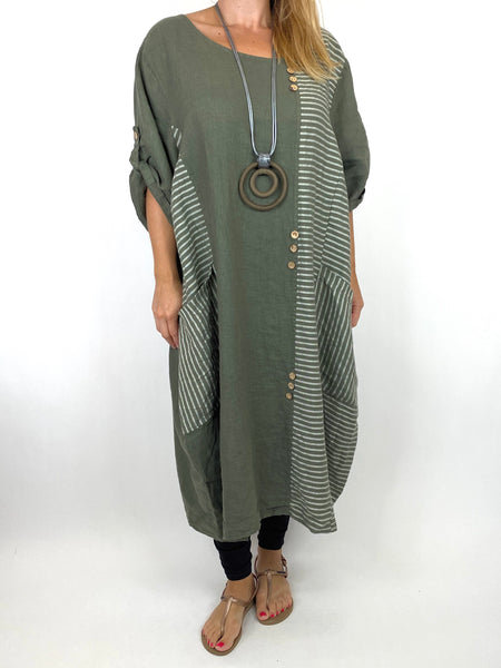Lagenlook Claudia Button and Stripe Linen Tunic in Khaki . code 10377