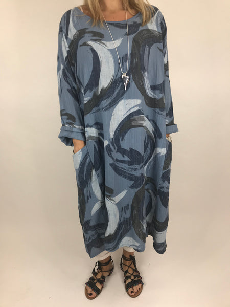 Lagenlook Sarah Swirl Tunic in Denim Blue. code 5665