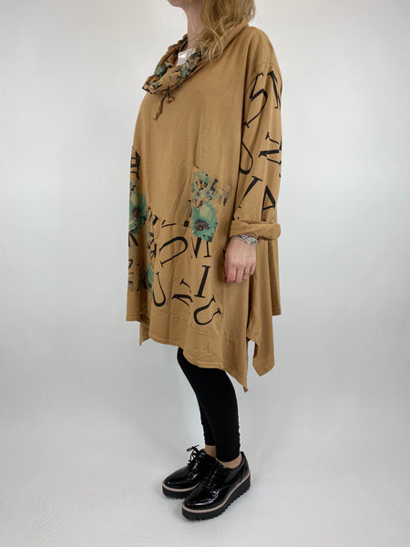 Lagenlook cowl sweatshirt 30+ plus in Sand . code 10256