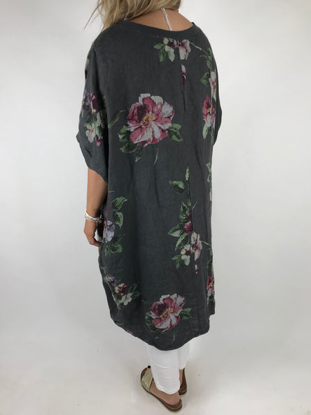Lagenlook Nikki Summer Flower Tunic in Charcoal grey . code 9618