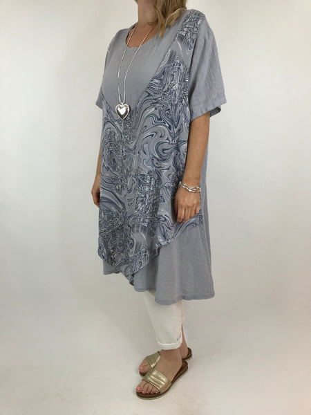Lagenlook Swirl Tank Top in Grey. code 2361