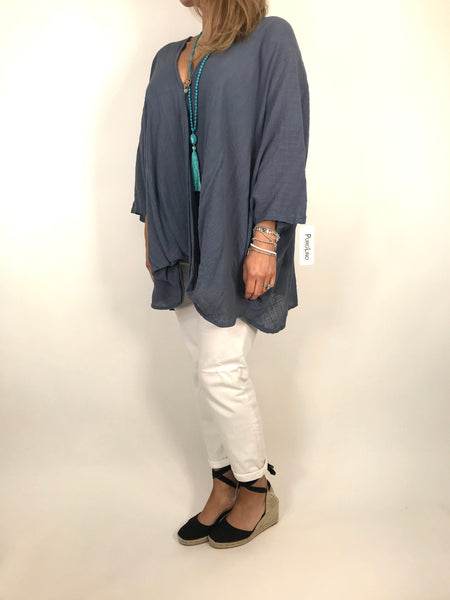 Lagenlook Linen Wrap Top in Denim.code 2087