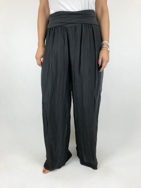 Lagenlook Wide leg Silk Trousers in Charcoal. code 2885
